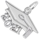 Rembrandt Charms Large 2021 Grad Cap Charm in 14K White Gold