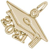 10K Gold 2021 Graduation Cap Large Charm