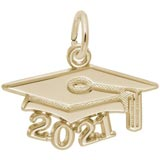 10K Gold 2021 Graduation Cap Accent Charm