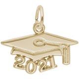 14K Gold 2021 Graduation Cap Accent Charm