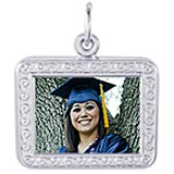 14K White Gold Rectangle Scroll PhotoArt® Charm by Rembrandt Charms