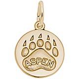 Gold Plate Bear Paw Charm - Aspen
