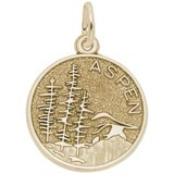 14K Gold Aspen Mountain Scene Charm