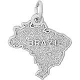 14K White Gold Brazil Map Charm