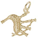 14K Gold Scottish Bagpipe Charm