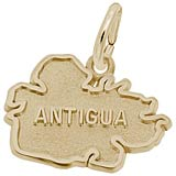 Gold Plate Antigua Map Charm