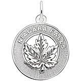 14K White Gold Niagara Falls Maple Leaf Ring Charm