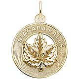 Gold Plate Niagara Falls Maple Leaf Ring Charm