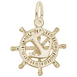 14K Gold Small Anchor & Ships Wheel Charm