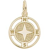 14K Gold Nautical Compass Charm