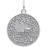 Sterling Silver Cherry Blossom Scene Charm
