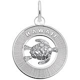 14K White Gold Hawaii and Turtle
