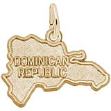 14K Gold Dominican Republic Map
