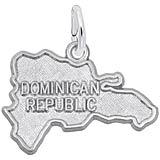 14K White Gold Dominican Republic Map