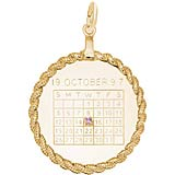 10k Gold Calendar with Rope Frame Charm by Rembrandt Charms