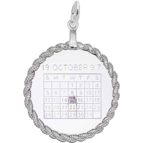 Sterling Silver Calendar with Rope Frame Charm by Rembrandt Charms