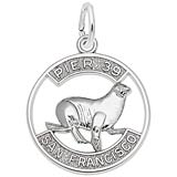 Sterling Silver Pier 39 Sea Lion Disc Charm