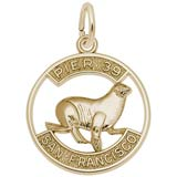 14K Gold Pier 39 Sea Lion Disc Charm
