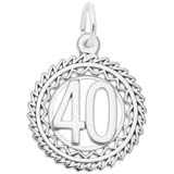 14K White Gold Number 40 Charm by Rembrandt Charms