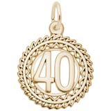 Gold Plate Number 40 Charm by Rembrandt Charms