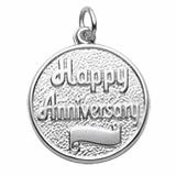 14K White Gold Happy Anniversary Disc Charm