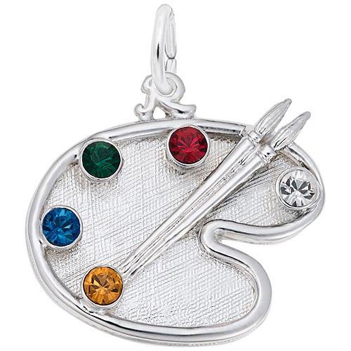 Sterling Silver Artist Palette, You Select 5 Birthstones