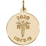 Gold Plate COVID-19 RN and Caduceus Charm