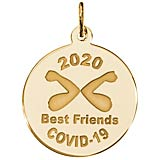 Gold Plate COVID-19 Best Friends Elbow Bump Charm
