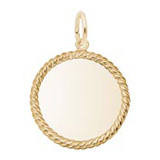 14K Gold Extra Small Rope Disc Charm