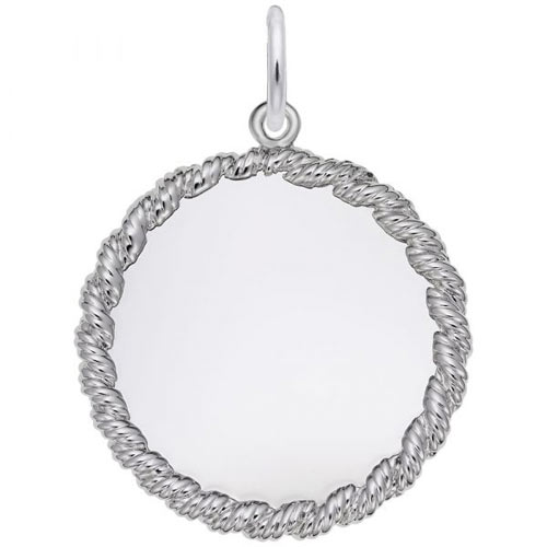 14K White Gold Medium Twisted Rope Disc Charm by Rembrandt Charms
