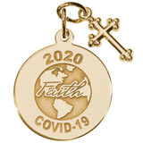 14K Gold COVID-19 Faith Charm with Cross