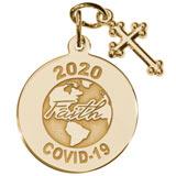 Gold Plate COVID-19 Faith Charm with Cross