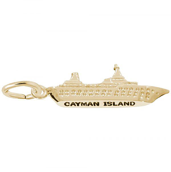 Gold Plate Cayman Island Cruise Ship Charm by Rembrandt Charms