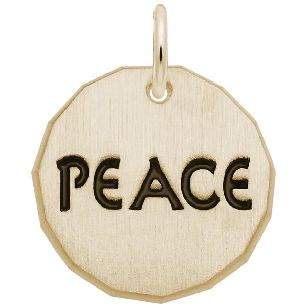 14K Gold Peace Charm Tag by Rembrandt Charms