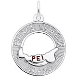 14K White Gold Prince Edward Island Map in Ring Charm