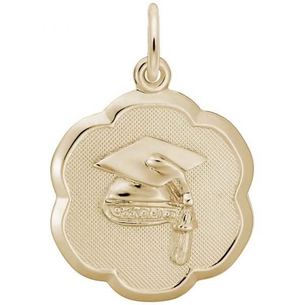 Rembrandt Grad Cap Scalloped Disc Charm, 14k Yellow Gold