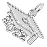 Rembrandt Charms Large 2022 Grad Cap Charm in 14K White Gold