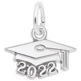 Rembrandt Charms 2022 Graduation Cap Accent Charm in 14K White Gold