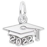 Sterling Silver 2022 Grad Cap Accent Charm