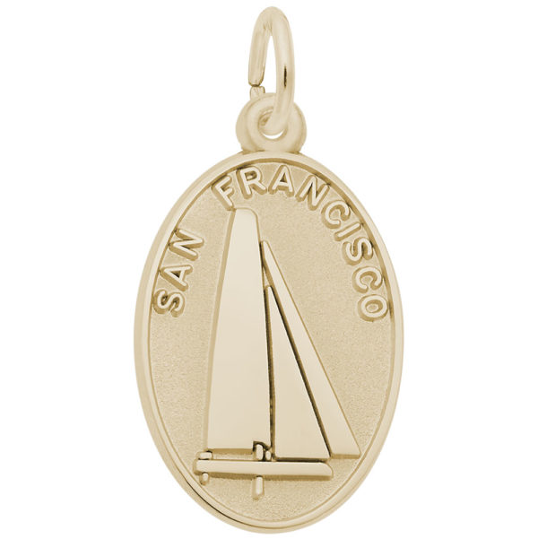 Gold Plate San Francisco Oval Disc Charm by Rembrandt Charms