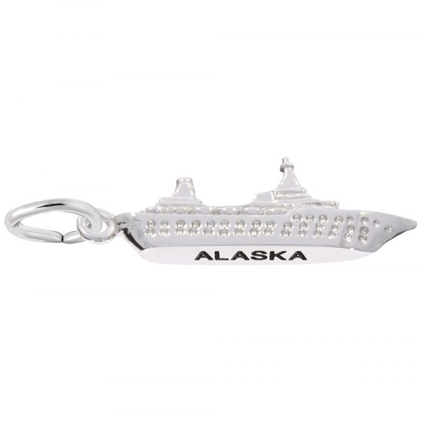 14K White Gold Alaska Cruise Ship Charm by Rembrandt Charms