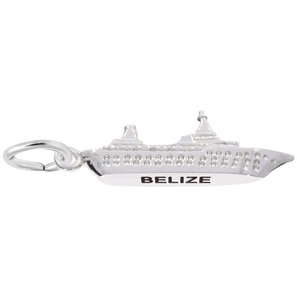 14K White Gold Belize Cruise Ship Charm by Rembrandt Charms