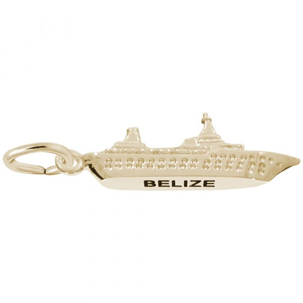 Gold Plate Belize Cruise Ship Charm by Rembrandt Charms