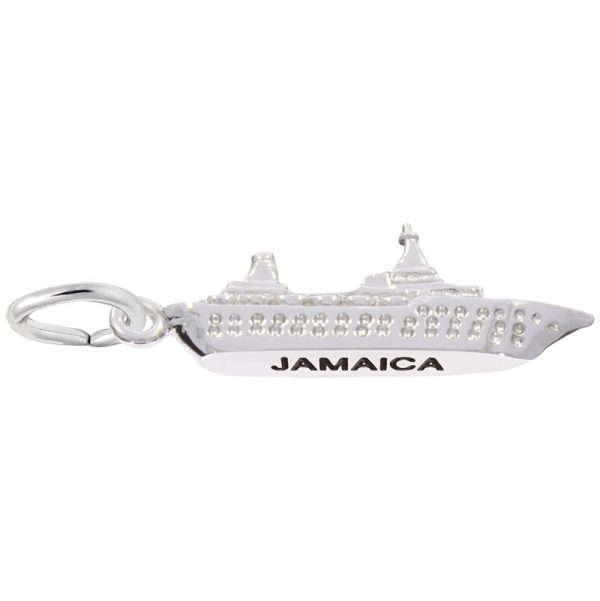 14K White Gold Jamaica Island Cruise Charm by Rembrandt Charms