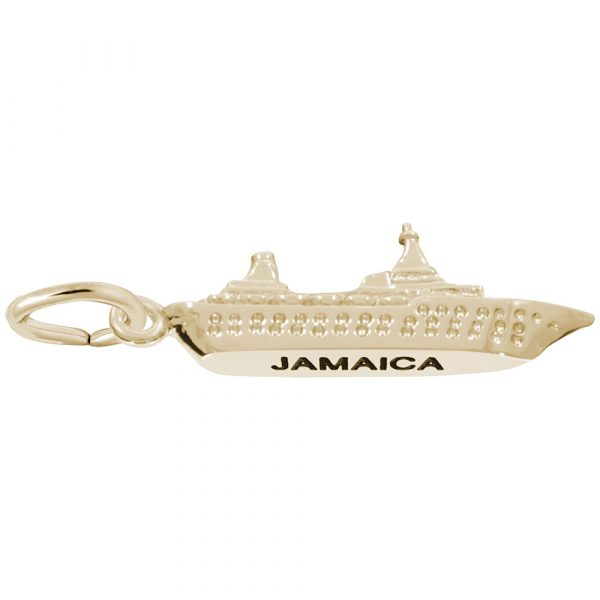 Gold Plate Jamaica Island Cruise Charm by Rembrandt Charms