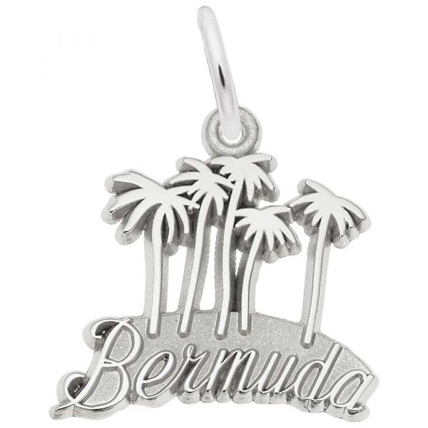 14K White Gold Bermuda Palm Trees Charm by Rembrandt Charms