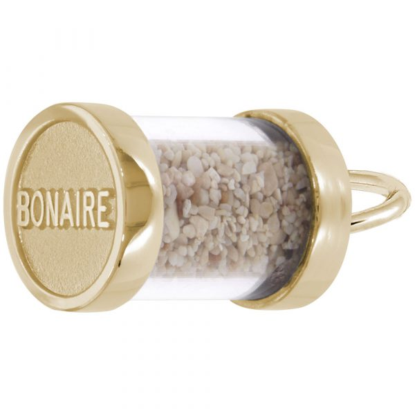 Gold Plate Bonaire Sand Capsule Charm by Rembrandt Charms