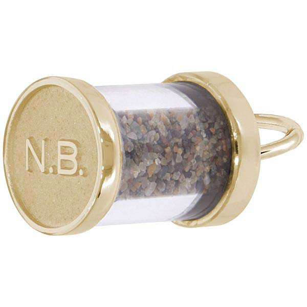 Gold Plate New Brunswick Sand Capsule Charm by Rembrandt Charms