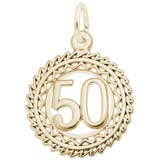 Gold Plate Number 50 Charm by Rembrandt Charms