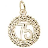 Gold Plate Number 75 Charm by Rembrandt Charms